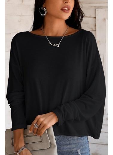 BLACK&GRACE Siyah Sırt İnci Detaylı Bluz Siyah